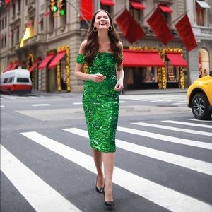 Alice and Olivia Green Sequins Dress